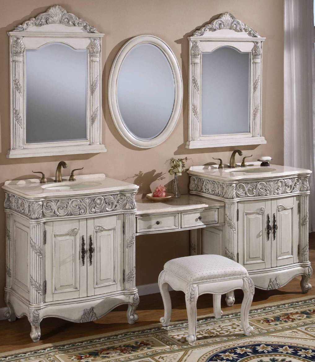 Double bathroom vanity with makeup area - Retro Bathroom Renovation Vanity Cabinets With Makeup Table