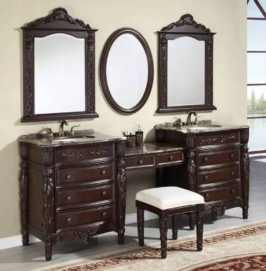 Price Includes Three (3) Matching Set Vanity Mirrors And Vanity Makeup Stool.  Antique Brass Finish Faucets Not Included, Sold Separately.