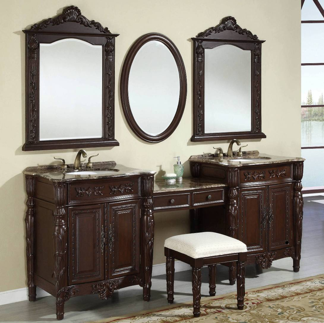 87Inch Double Vanities  Vanity Makeup Stool