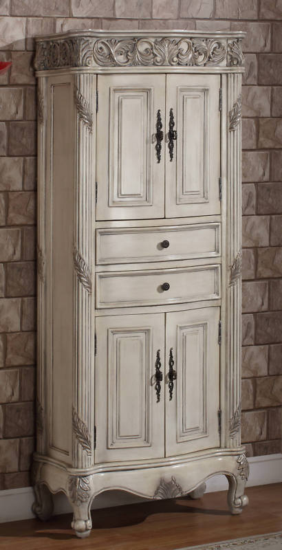 European furniture Style bathroom furniture in Antique Ivory Finish Bathroom  Storage Linen Cabinet with Four (4) Doors with Shelves Inside and Two (2)  ... - 72-Inch Ferrari Vanity Double Sink Vanity Antique White Vanity