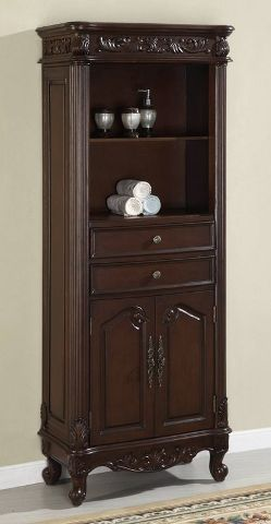 from the elizabeth sink vanity bathroom furniture collection comes this beautiful hand carved open upper linen cabinet features two 2 doors with shelf