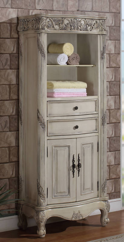 and Open Top at right >, Alberta Linen Cabinet Antique Ivory / Open Top 28 - Antique Linen Cabinets Antique Furniture
