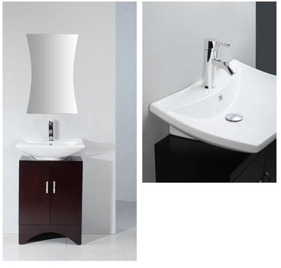 24 Inch Ellen Vanity Space Saving Vanity Contemporary Sink Cabinet