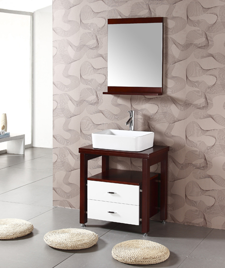27 Inch Bathroom Vanities: White Porcelain Sink