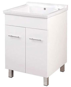 24 Wide Laundry Sink Cabinet White Color Finish