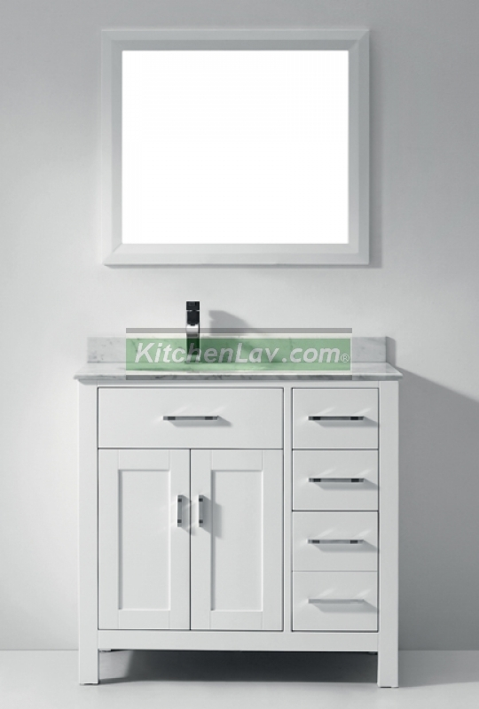 36 Inch White Bathroom Vanity With DrawersGloborank