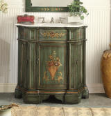 Antique reproduction bathroom sink vanity in vintage hand-painted golden decorative accents