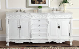 double sink vanity white. 72 Inch Angelina Double Sink Vanity  Antique White finish Marble Top porcelain sinks and over Vanities Bathroom