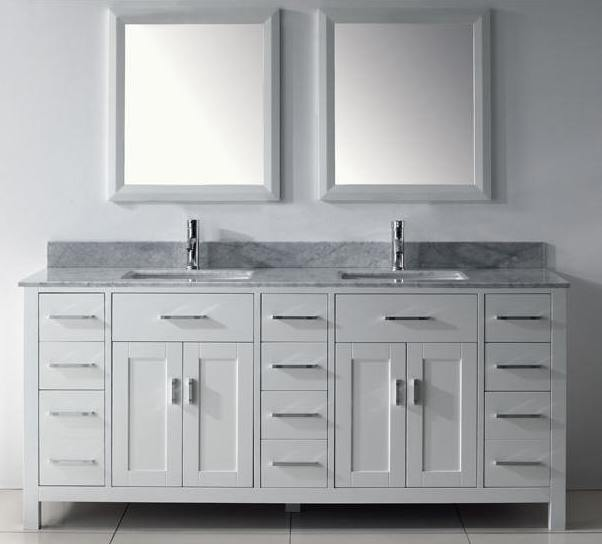 75 White Finish Asta Double Vanity Country Style Carerra Marble Top Sink  ChestDouble Sink Vanities Bathroom Vanities Double Bathroom Vanity