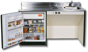 60 Inch Wheelchair accessible Compact Kitchen Unit with Cooktop and undermount refrigerator with freezer compartment