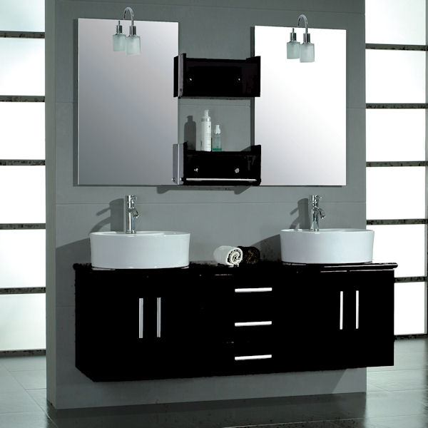 59 Inch Galexy Vanity Black Contemporary Vanity Wall Mounted Vanity