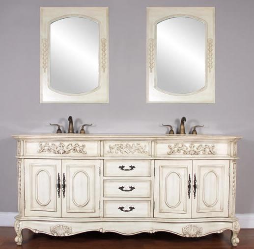 73 Inch Jenna Vanity Double Sink Vanity Antique White