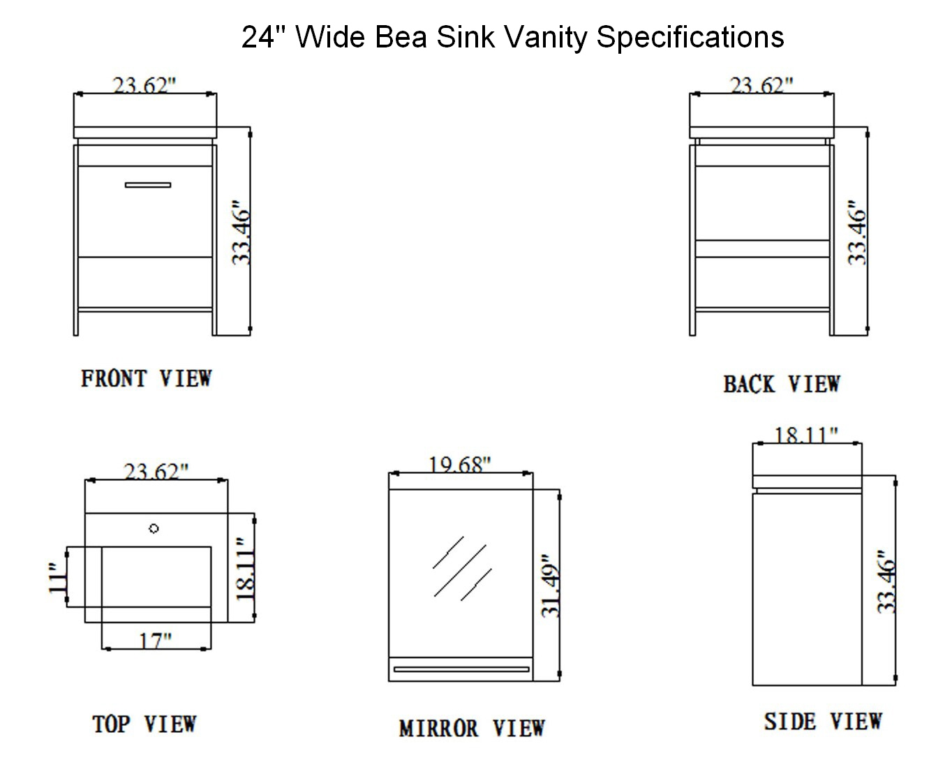 Bathroom Vanity Cabinet Dimensions 24-inch bea vanity | space saving vanity | contemporary sink cabinet