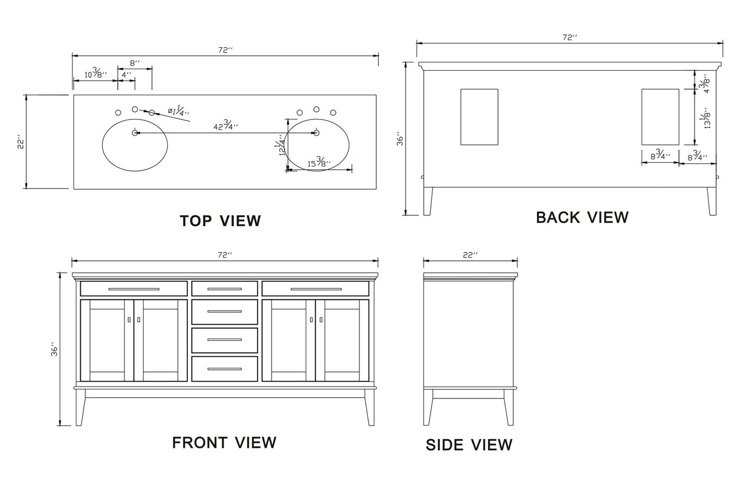 Double Bathroom Vanity Measurements 72-inch idaho vanity |dark espresso vanity | espresso double vanity