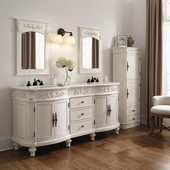 ... and beveled mirror that arches at the top, click to enlarge, create a  dramatic old world look coupled with the brilliant antique White furniture  finish - 72 Inch Sunrise Vanity Antique White Vanity Double Vanity Sale