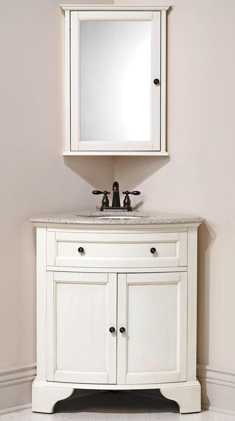 31 Inch Karina Corner Bathroom Sink Vanity Corner Vanity In Ivory White With Grey Granite Vanity Top And White Undermount Sink