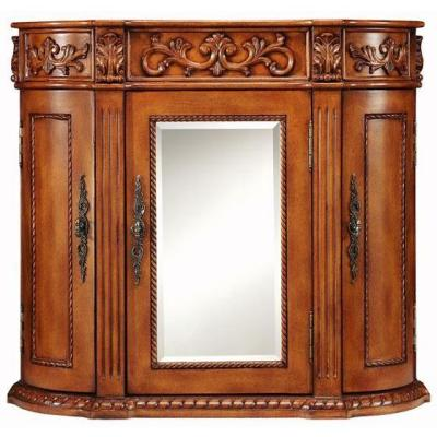Truly stunning handcrafted wood cabinet. Three (3) door Bathroom Wall  Cabinet with fixed shelves behind its cabinet doors. - 95 Inch Wide Marcus Double Sink Vanity Very Large Vanity Large