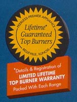 Lifetime Top Burner Warranty
