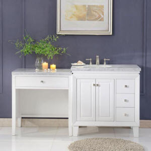 double vanity with makeup counter. Complete your bathroom project with this beautiful looking Makeup Table and  Sink Vanity Cabinet matched collection Shown above 68 Mariana Left Tables Bathroom