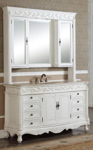 60-Inch Antique Style Single Sink Bathroom Vanity with Mirrored Hutch in Antique White Cabinet Color Finish.
